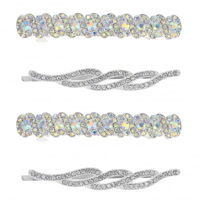 MOOD By Jon Richard Silver Multi Shape Hair Slide Set