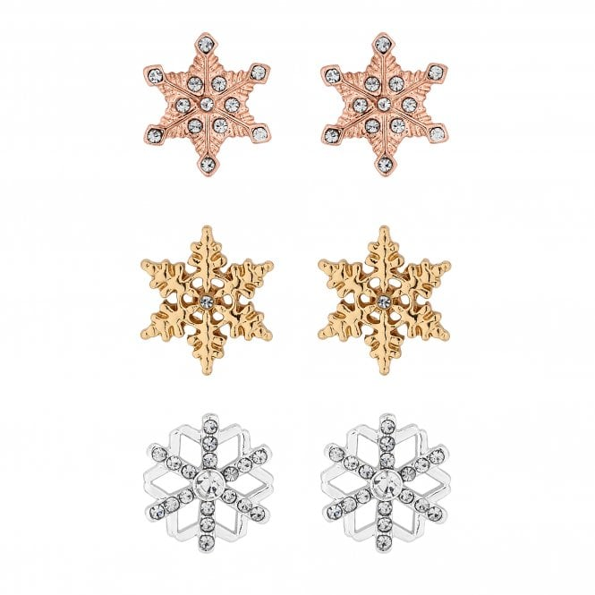 Multi Tone Crystal Snowflake Stud Earring Set