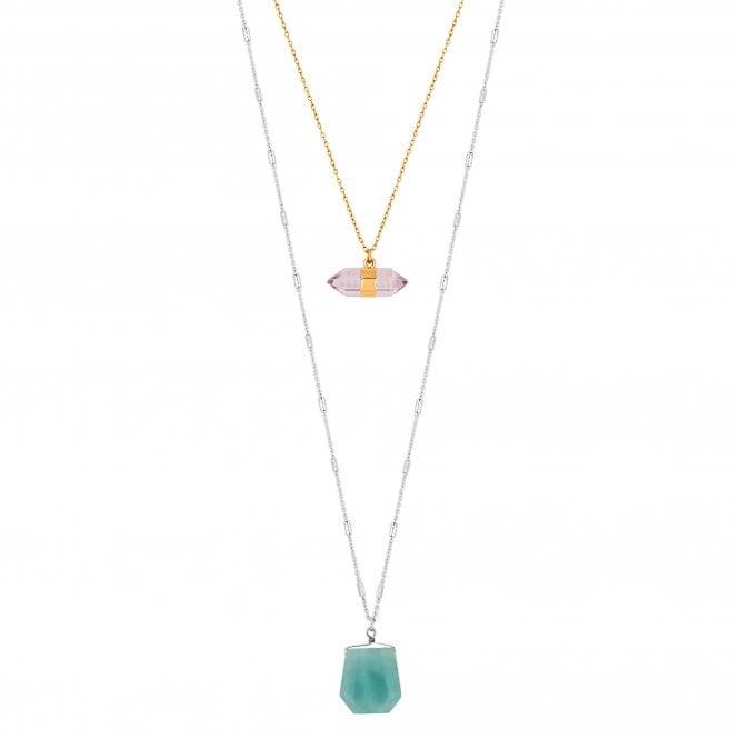 Multicoloured Layered Pendant Necklace