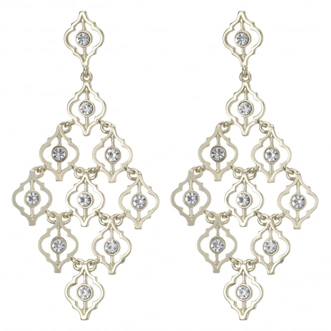 Gold Ornate Crystal Statement Earring