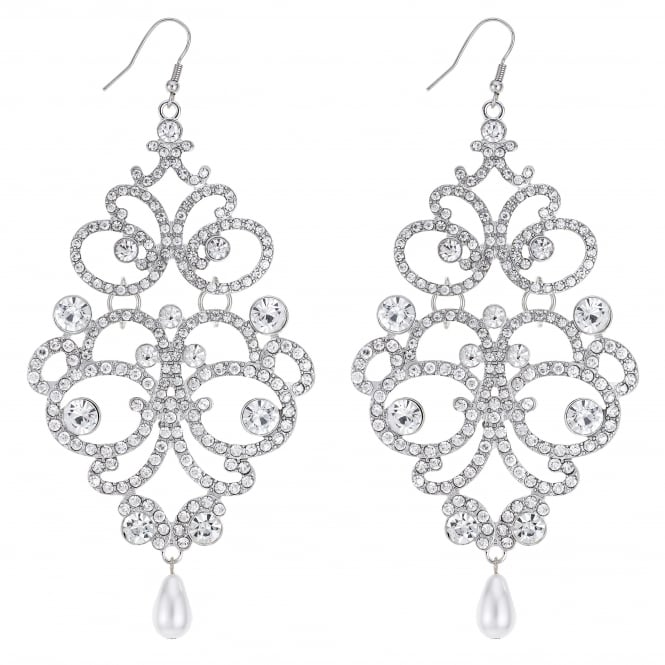 Silver Ornate Oversized Statement Earring
