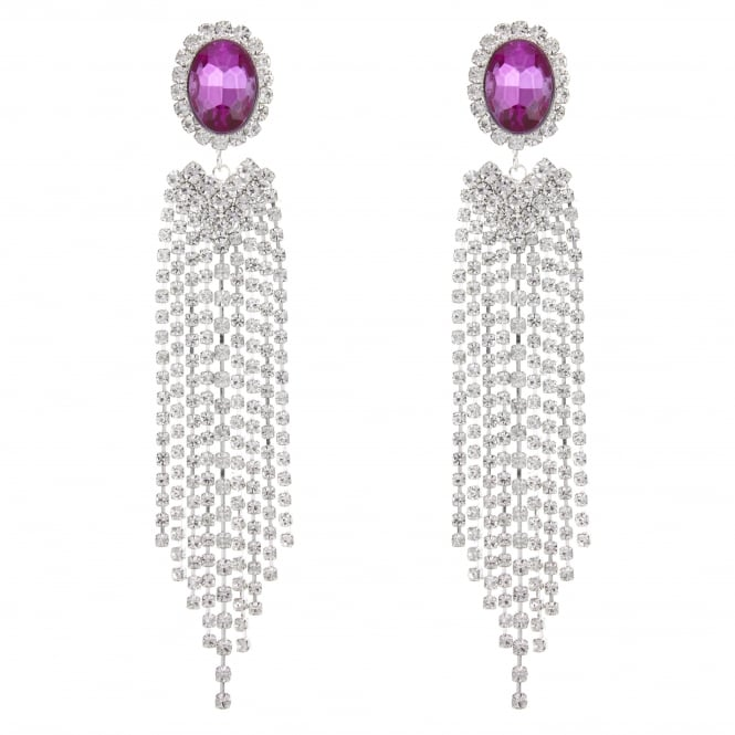 Silver Oval Crystal Diamante Drop Earring