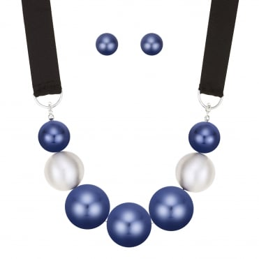 Oversized blue pearl jewellery set