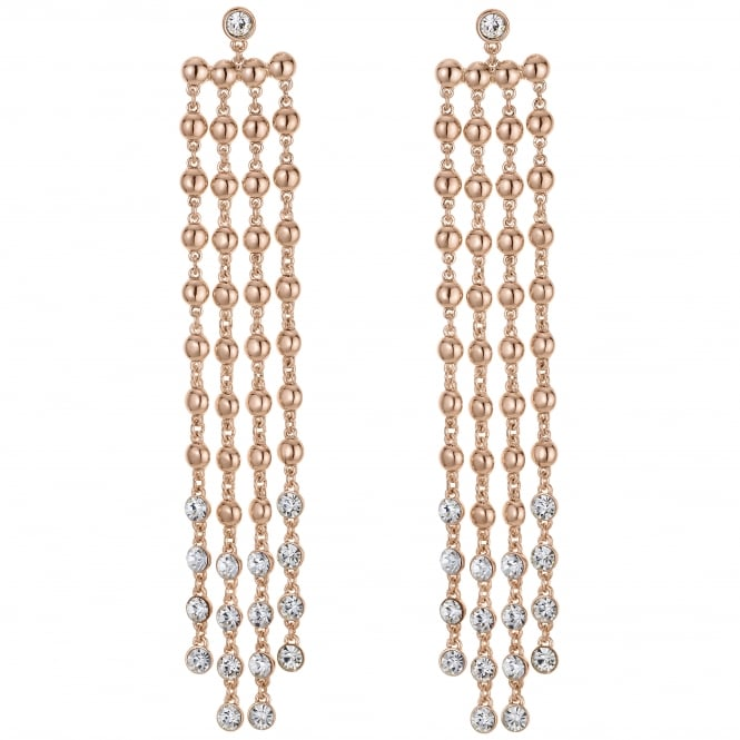 Rose Gold Crystal Drop Statement Earring