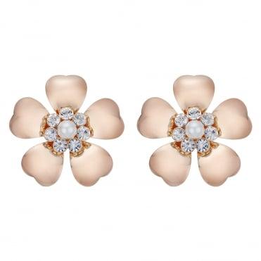 Rose Gold Oversized Floral Stud Earring