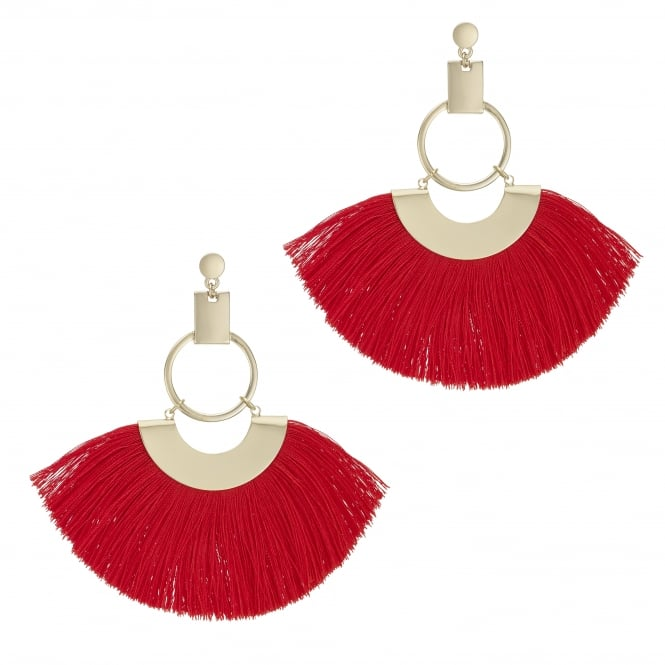 Red Oversized Fringe Hoop Statement Earring