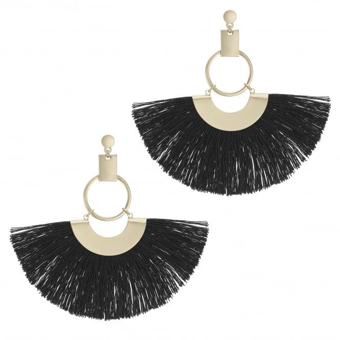 Black Oversized Fringe Hoop Statement Earring