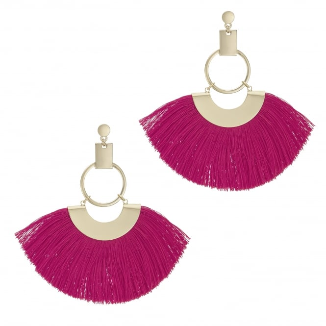 Pink Oversized Fringe Hoop Statement Earring