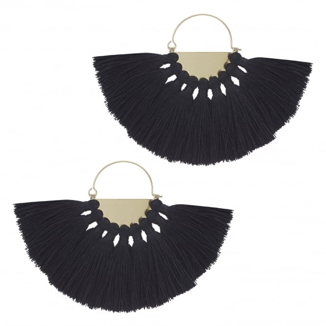 Black Oversized Fringe Hoop Earring