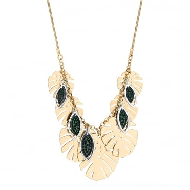 Gold Palm Leaf Statement Necklace