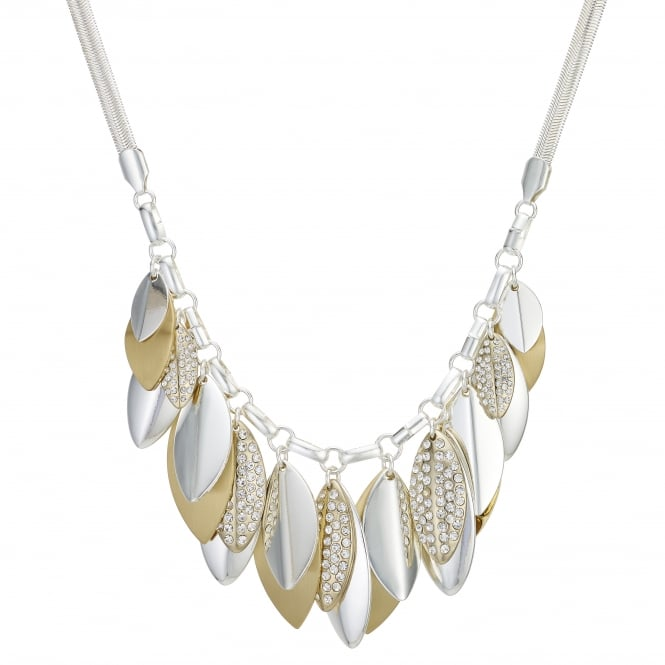 Gold / Silver Pave Leaf Statement Necklace