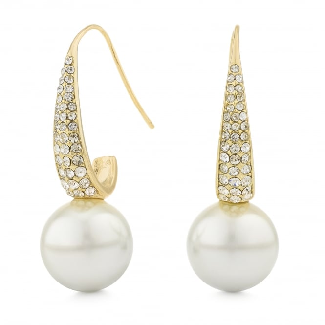 Gold Pave Crystal Pearl Drop Earring