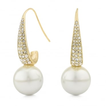 Pave pearl drop earring