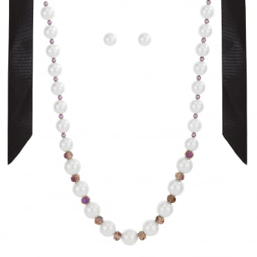 Pearl and bead ribbon jewellery set