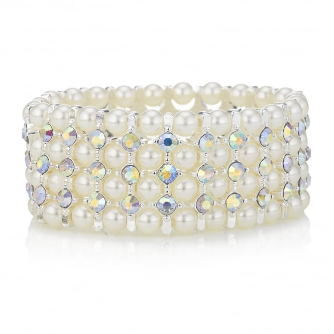 MOOD By Jon Richard Silver Pearl And Crystal Stretch Bracelet