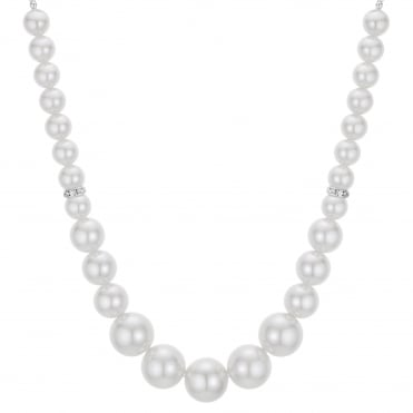 Pearl and crystal graduated necklace