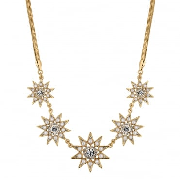 Pearl and crystal star necklace