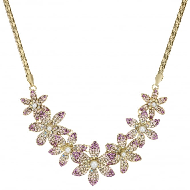 MOOD By Jon Richard Pink Crystal Floral Statement Necklace