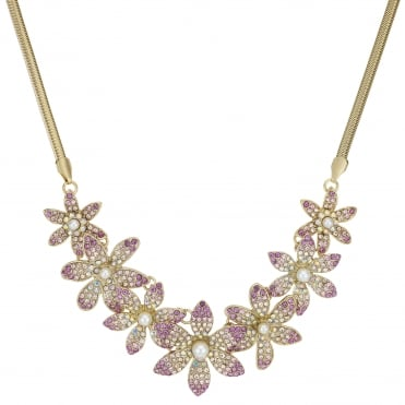 Pink Crystal Floral Statement Necklace