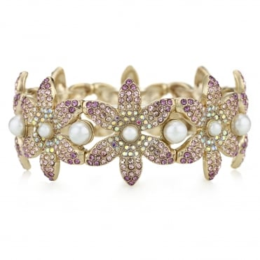 Pink Crystal Flower Gold Stretch Bracelet