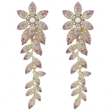 Pink Crystal Flower Statement Earring