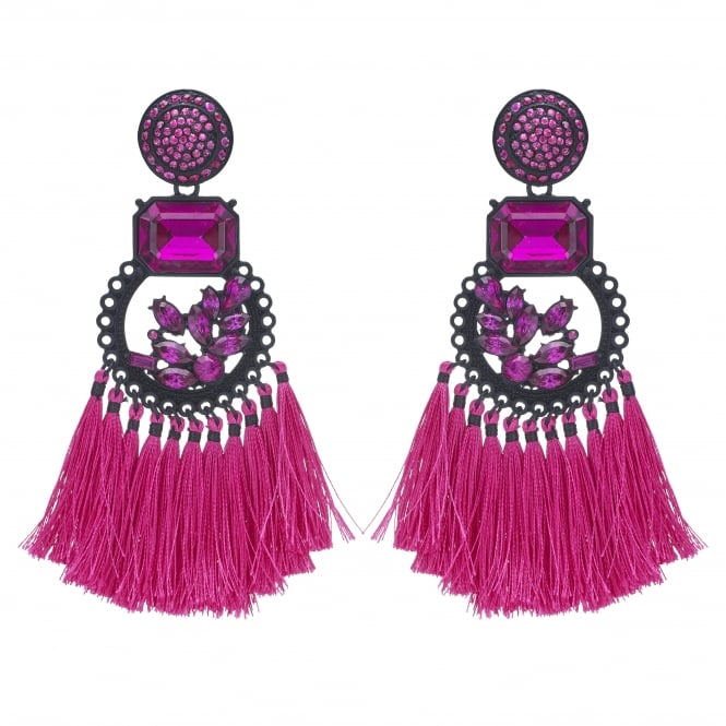 Pink Crystal Tassel Statement Earring