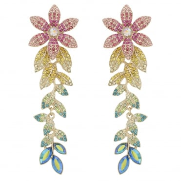 Pink/ Yellow / Green / Blue Crystal Flower Statement Earring