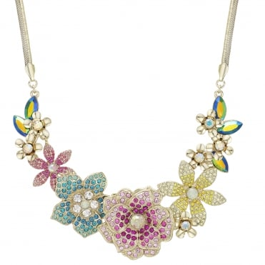 Pink / Yellow / Green / Blue Crystal Flower Statement Necklace