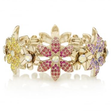 Pink / Yellow / Green / Blue Crystal Flower Stretch Bracelet