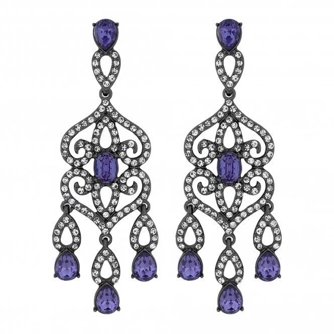 Purple Crystal Ornate Drop Earring