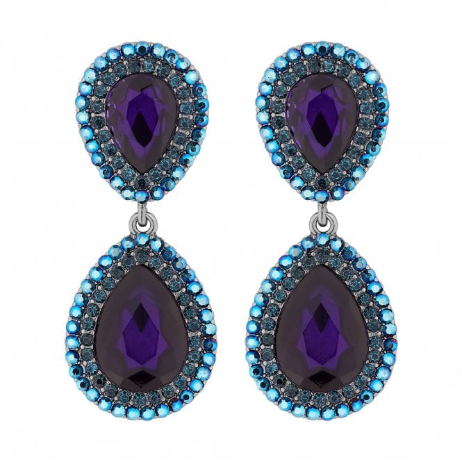 Purple Crystal Peardrop Drop Earring