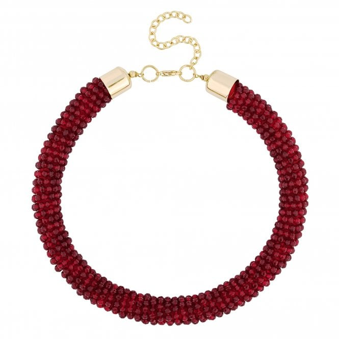 Red Beaded Rope Necklace