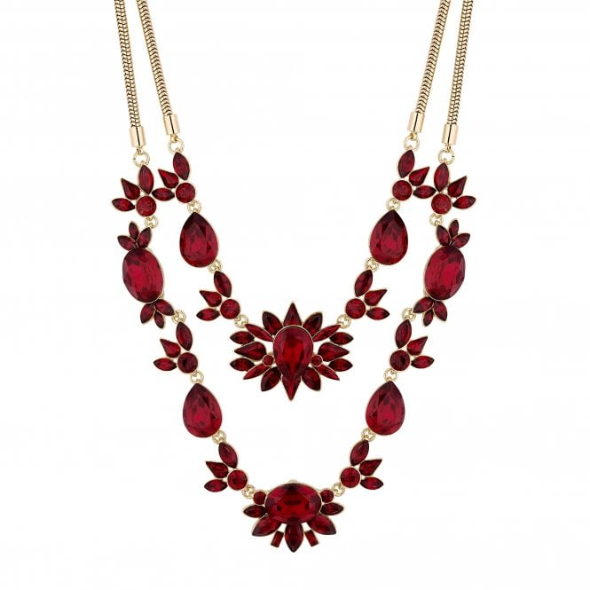 Red Crystal Cluster Multi Row Necklace