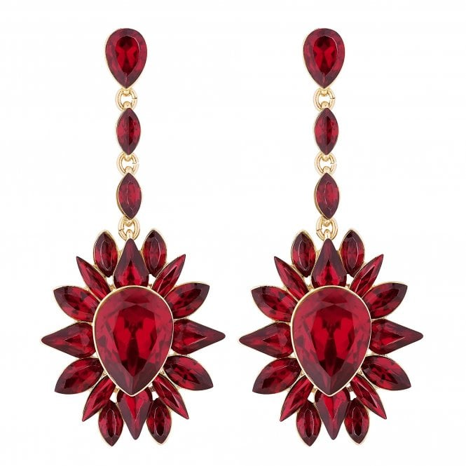 Red Crystal Cluster Statement Earring