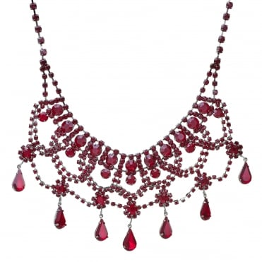Red crystal diamante droplet choker necklace