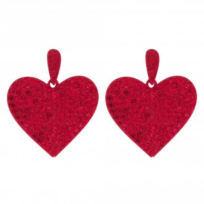 Red Crystal Embellished Oversized Heart Drop Earring