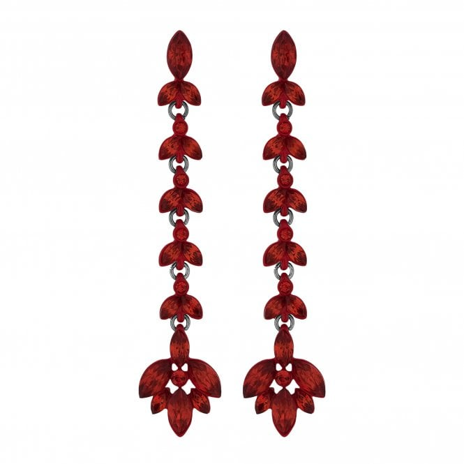 Red Crystal Leaf Statement Drop Earring