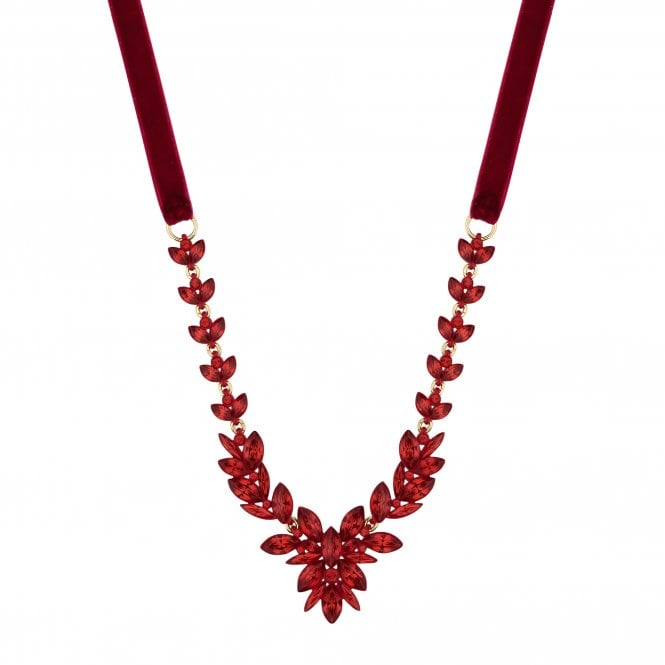 Red Crystal Leaf Statement Necklace