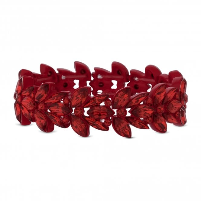 Red Crystal Leaf Stretch Bracelet