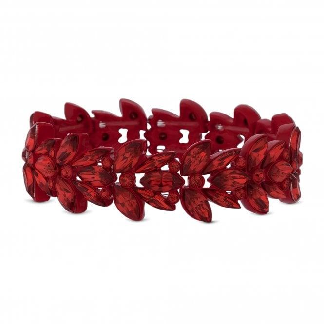 Red Crystal Leaf Stretch Bracelet