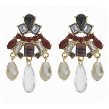 Red crystal multi stone droplet earring