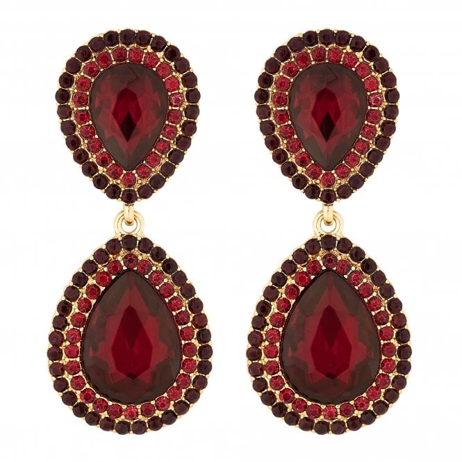 Red Crystal Ombre Peardrop Earring
