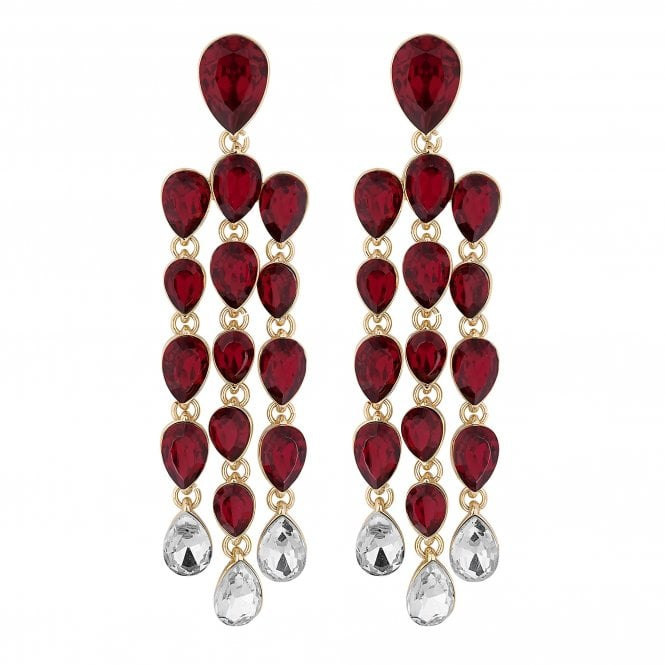 Red Crystal Peardrop Chandelier Drop Earring