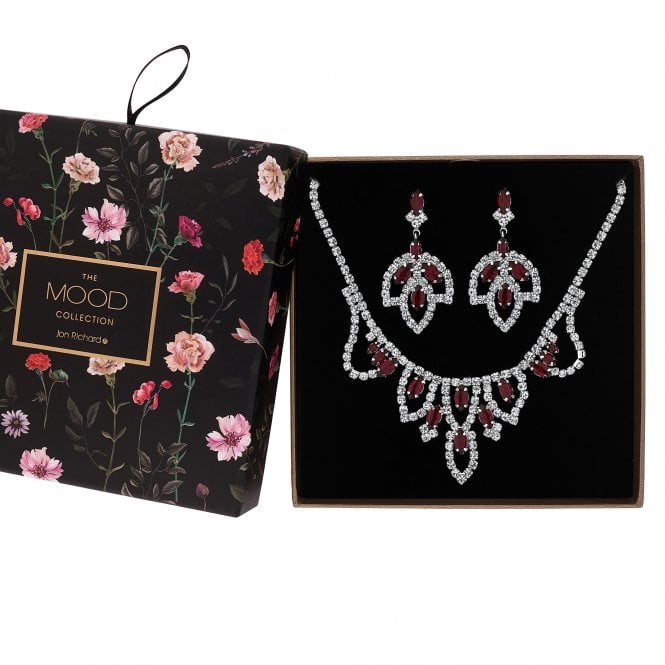Red Diamante Crystal Jewellery Set In A Gift Box