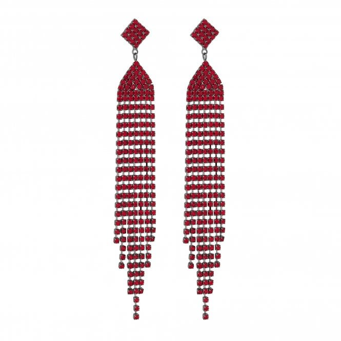 Red Diamante Statement Drop Earring