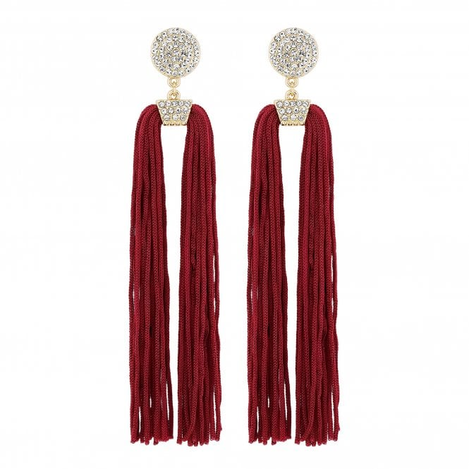 Red Pave Disc Tassel Statement Earring