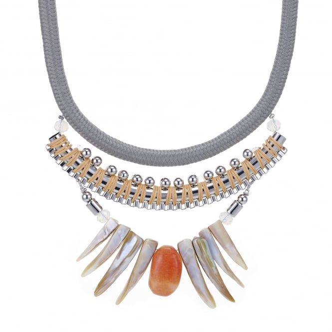 Rope twist shell fan statement necklace