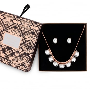 Rose gold crystal allway jewellery set