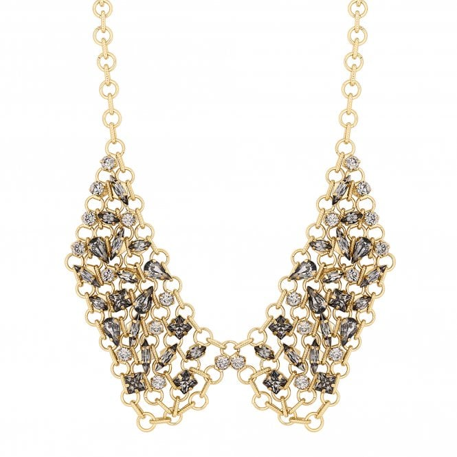 Rose Gold Crystal Chain Link Bib Necklace