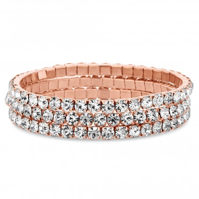 Rose Gold Crystal Diamante Bracelet Set